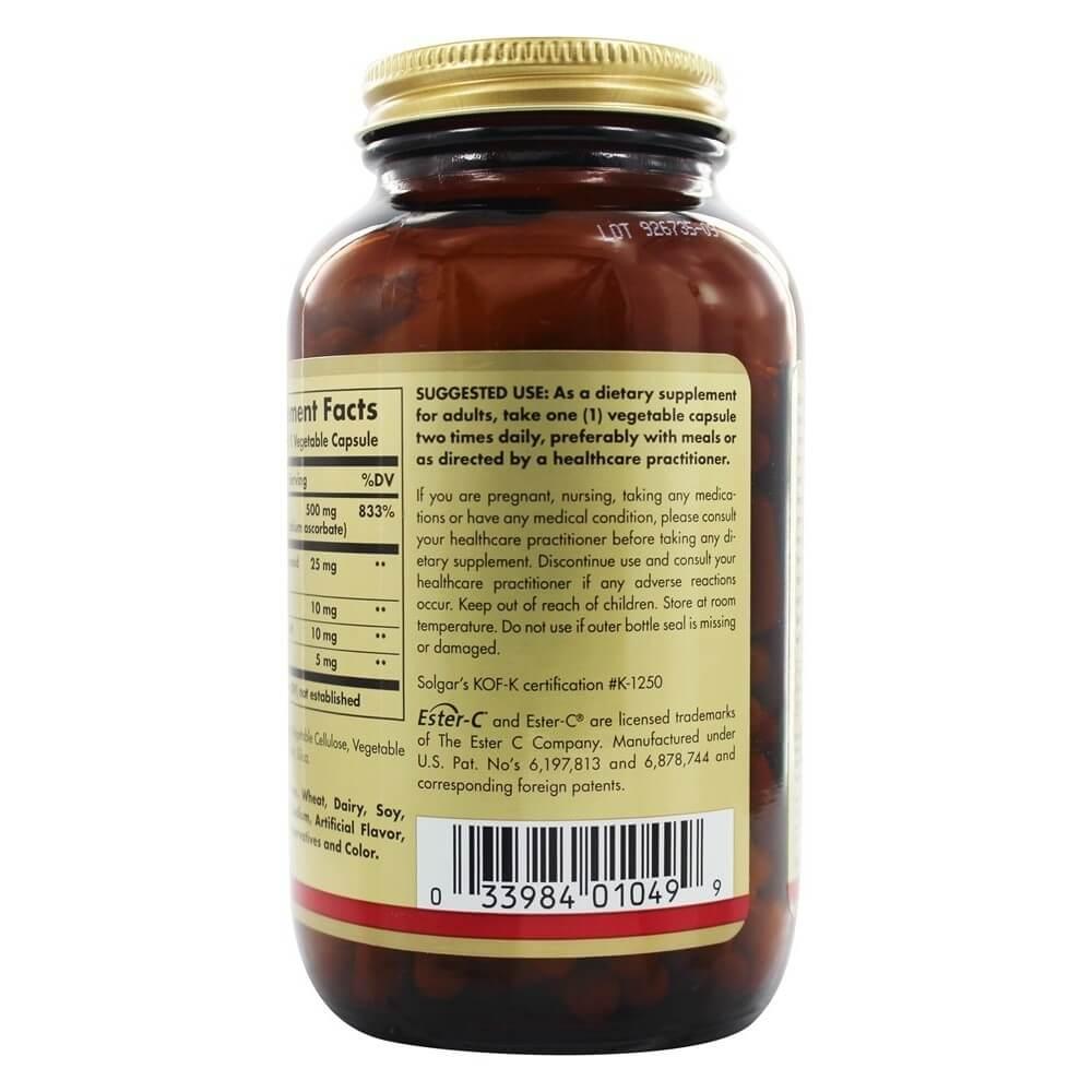 Ester C Plus Vitamin C 500 mg. 250 Vegetarian Capsules